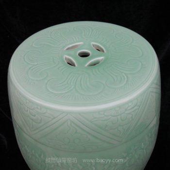 NYMA02 景德镇陶瓷 手工陶瓷 影青豆青釉手工雕刻荷花青莲 凳子