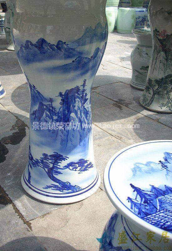 RYAZ300景德镇陶瓷手绘青花山水人家加厚版瓷桌凳套组一桌四凳子