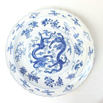 RYQQ43 景德镇 精品 陶瓷 青花花口龙纹盘