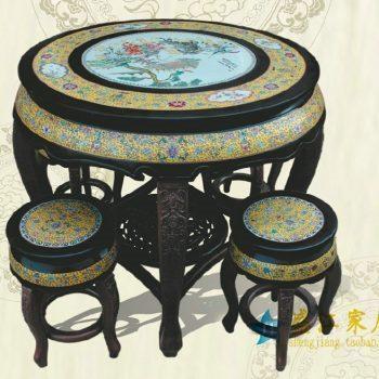 RYYZ07景德镇陶瓷 仿古黄底亚光黑粉彩花鸟瓷桌凳套组 一桌四凳子