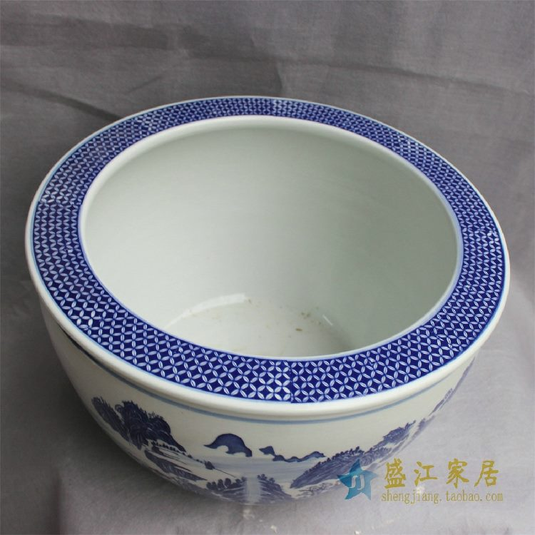 RYYY15景德镇精品陶瓷瓷器平口鱼缸水缸大缸花盆水培多用缸图案多