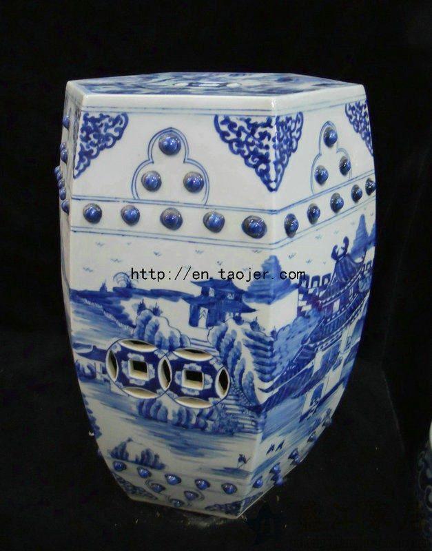 RYLV03景德镇陶瓷 六方青花手绘山水人物 鼓凳 瓷凳 梳妆凳 凳子