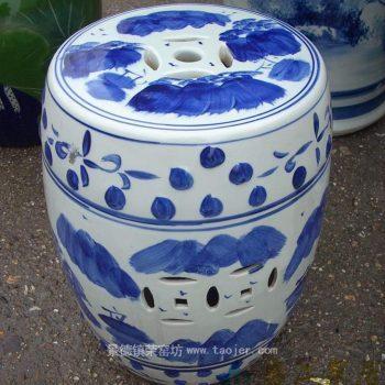 RYAZ319景德镇陶瓷 手绘青花人家 带钮钉 瓷凳 梳妆凳 鼓凳 凳子