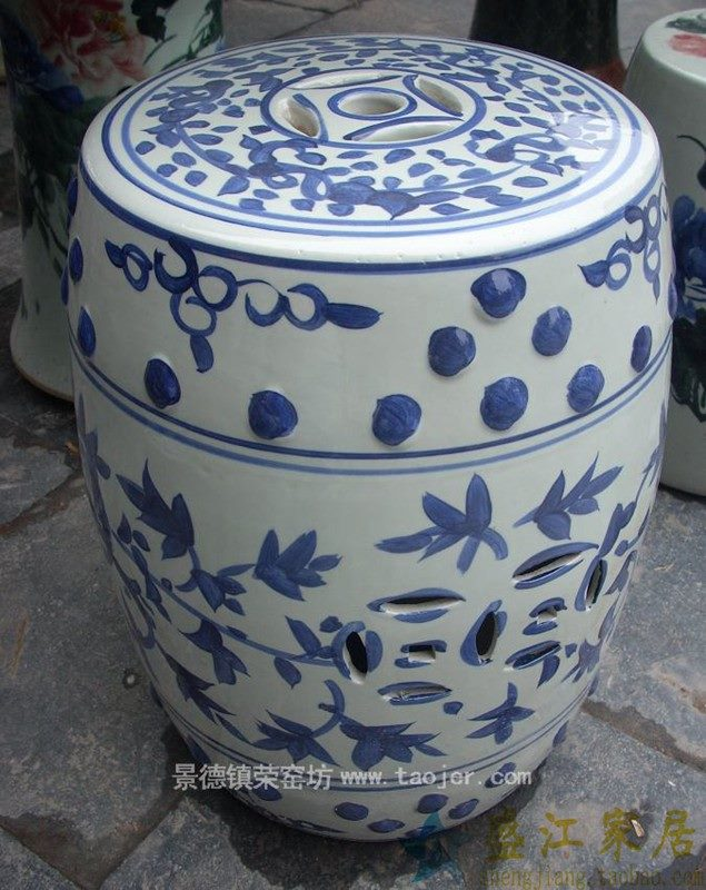 RYAZ315景德镇陶瓷 手绘青花缠枝带钮钉 瓷凳 梳妆凳 鼓凳 凳子