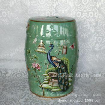 RYYL05景德镇 陶瓷 绿色凤凰 瓷凳 凉墩 凳子 家居工艺