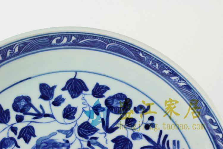 RYXC24景德镇精品陶瓷青花赏盘挂盘瓷盘收藏送人动物图案