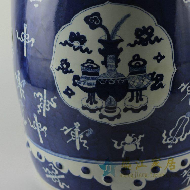 RYLU15景德镇精品陶瓷青花凳子家居摆件凉墩陶瓷凳子庭院凳子