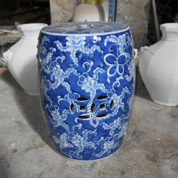 SJSI05景德镇高档陶瓷手工手绘青花 蓝底白花 瓷凳瓷墩凉墩凳子