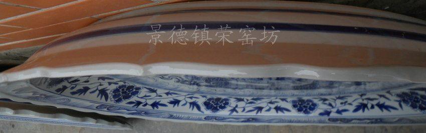ZJST04景德镇精品陶瓷手工手绘青花龙凤斗大瓷盘大挂盘