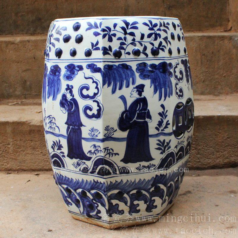 RYWH01景德镇 陶瓷 手绘 青花人物 瓷凳 瓷墩 工艺摆设