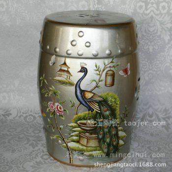 RYYL06景德镇 陶瓷 银色凤凰 瓷凳 凉墩 凳子 家居工艺