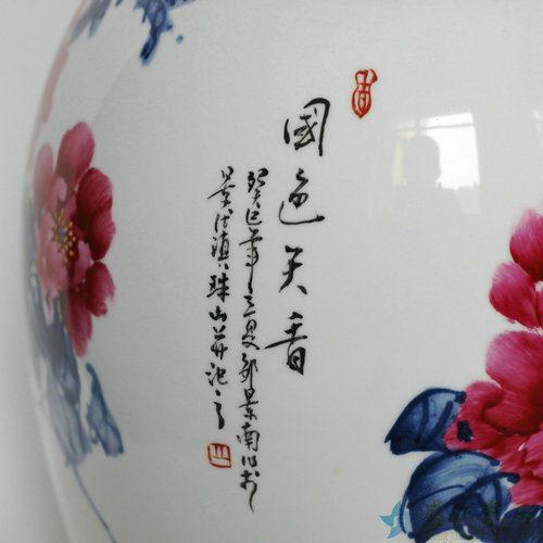 RZDL01景德镇精品陶瓷手绘粉彩花瓶国色天香牡丹花瓶收藏花瓶摆饰