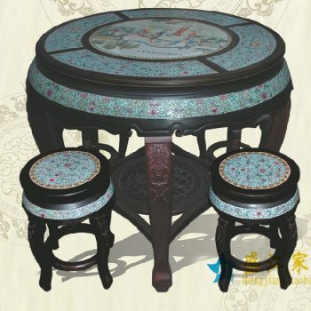 RYYZ11景德镇陶瓷 粉彩仿古蓝底缠枝人物 瓷桌凳套组 一桌四凳子