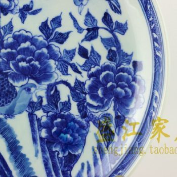 RYXC27景德镇精品陶瓷青花瓷盘赏盘挂盘送人收藏佳品花鸟图案