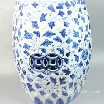 RYNQ47 景德镇陶瓷 手工陶瓷 青花 缠枝 六方 凳子 凉墩 墩子