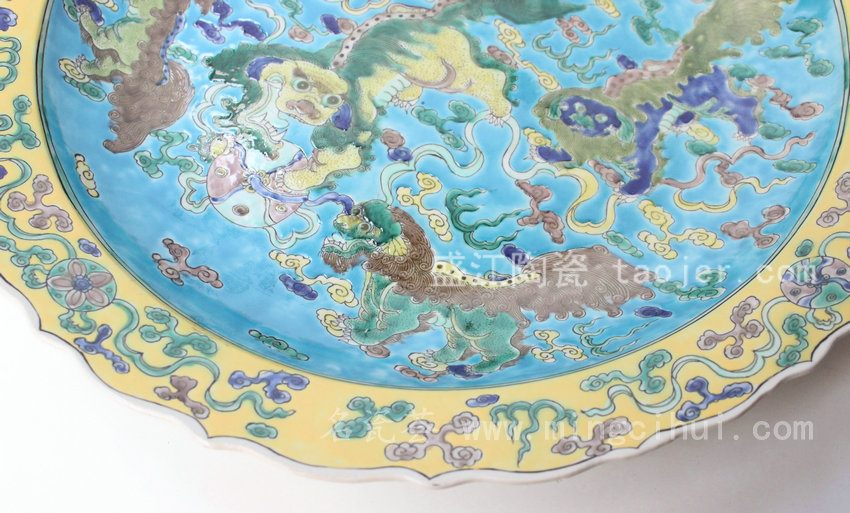 RYQQ39 景德镇 精品 陶瓷 蓝底花口狮子纹五彩盘