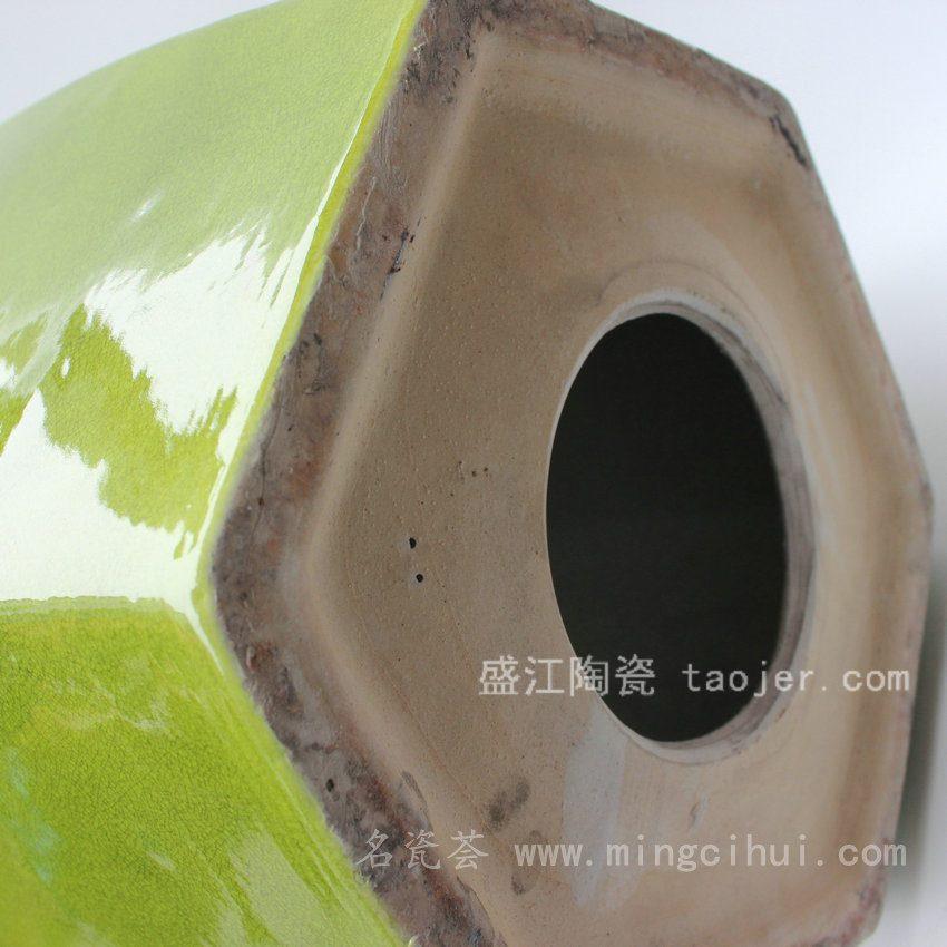 RYDB45景德镇 精品 陶瓷 鱼子黄 草绿釉雕刻六方凳