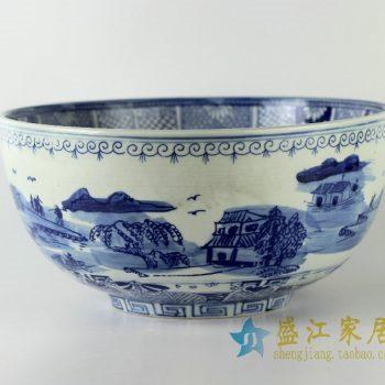 RYUV12景德镇精品陶瓷青花山水风景画鱼缸水缸大碗水培养殖