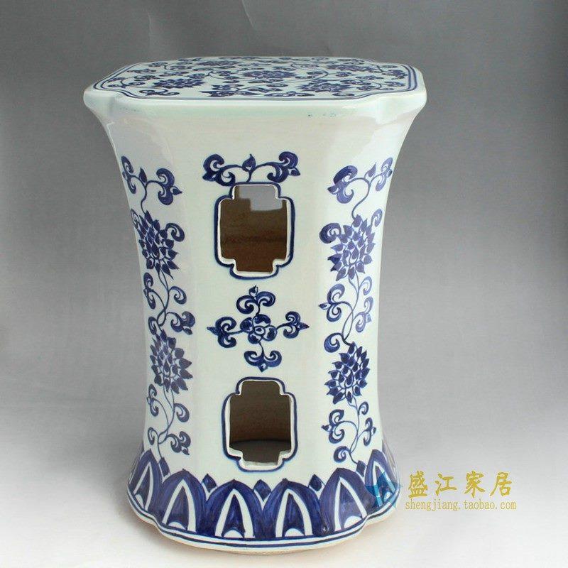 RYAZ336景德镇陶瓷 手绘青花缠枝锥形镂空 瓷凳 梳妆凳 鼓凳 凳子