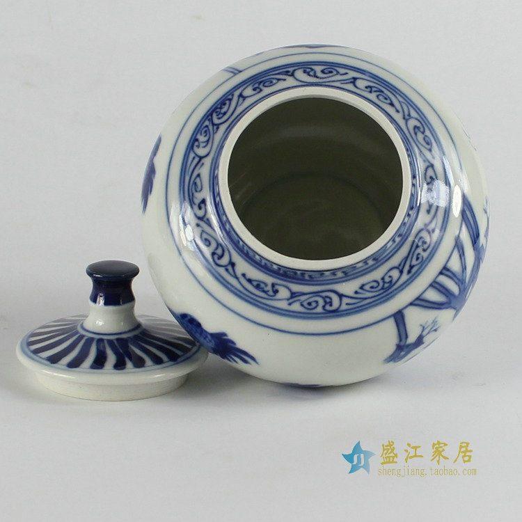RZBP01景德镇陶瓷 青花 小鸡图茶叶罐 盖罐储物罐