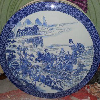 NYSP05 景德镇精品 陶瓷手工手绘青花八仙过海瓷桌凳一桌一柱四凳