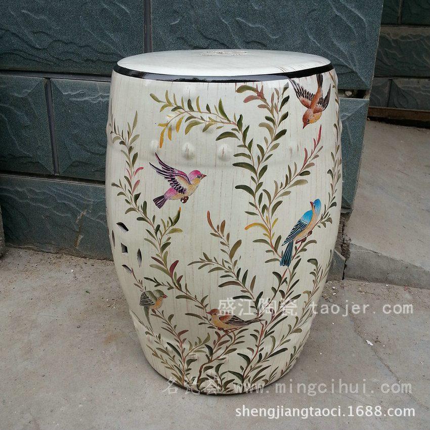 RYZS03景德镇 陶瓷 喜上柳枝头 瓷凳 凉墩 凳子 家居工艺