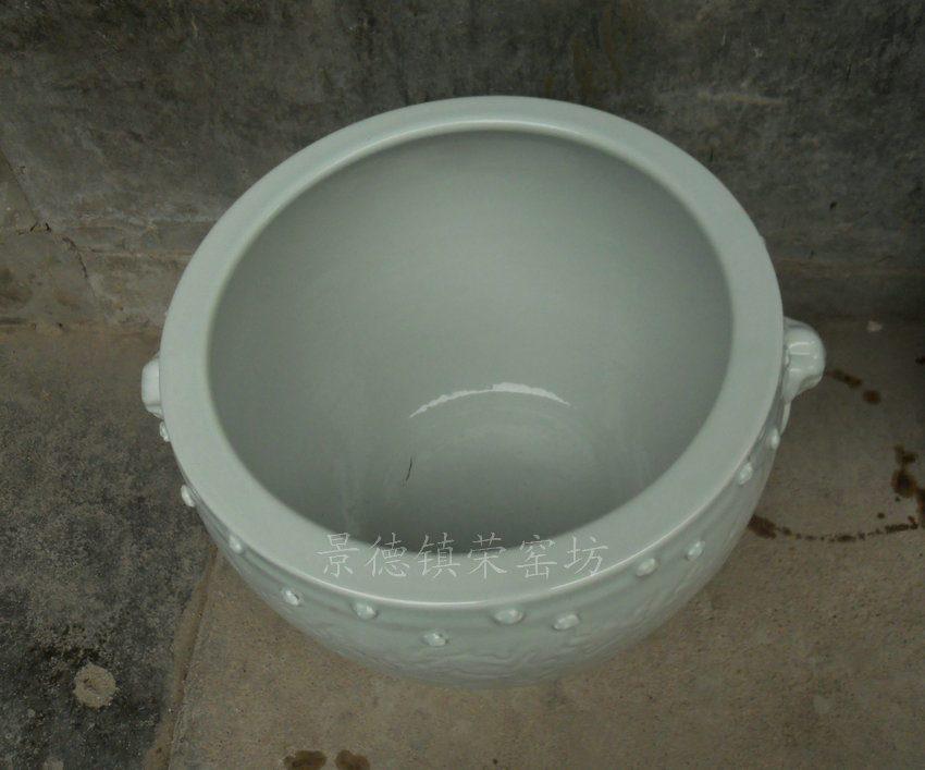 ZJSG10景德镇 精品手工 陶瓷 影青 狮子头带钉 陶瓷雕刻 鱼缸