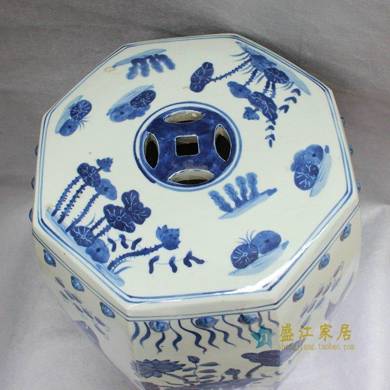 RYLU11景德镇陶瓷 六方青花手绘鱼草 鼓凳 瓷凳 梳妆凳 凳子