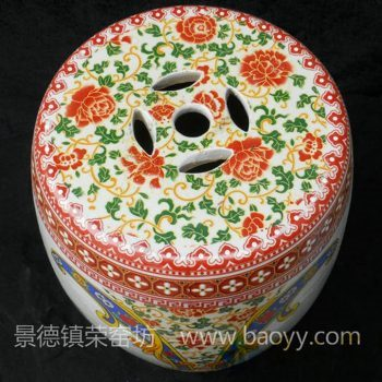 RYLL14景德镇陶瓷 粉彩百子图 鼓凳 瓷凳 梳妆凳 凳子