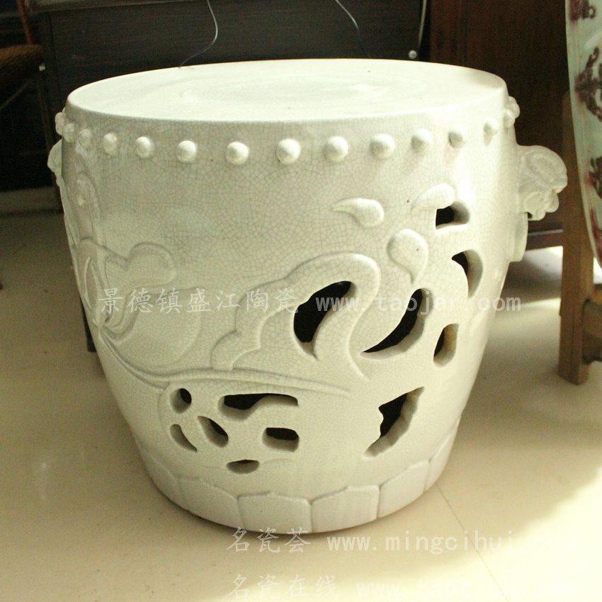 RYWC03景德镇 陶瓷 雕刻 荷花大头凳 狮子头 凳 瓷凳 工艺摆设