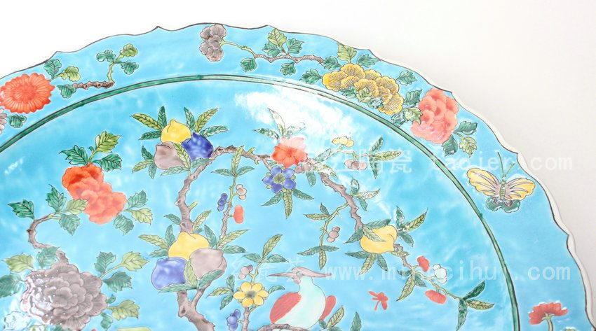 RYQQ37 景德镇 精品 陶瓷 蓝底花口寿桃牡丹花鸟香五彩盘