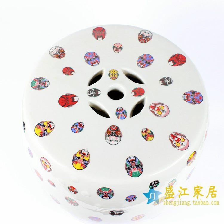 RYYY01景德镇陶瓷 白底京剧脸谱人物 鼓凳 瓷凳 梳妆凳 凳子