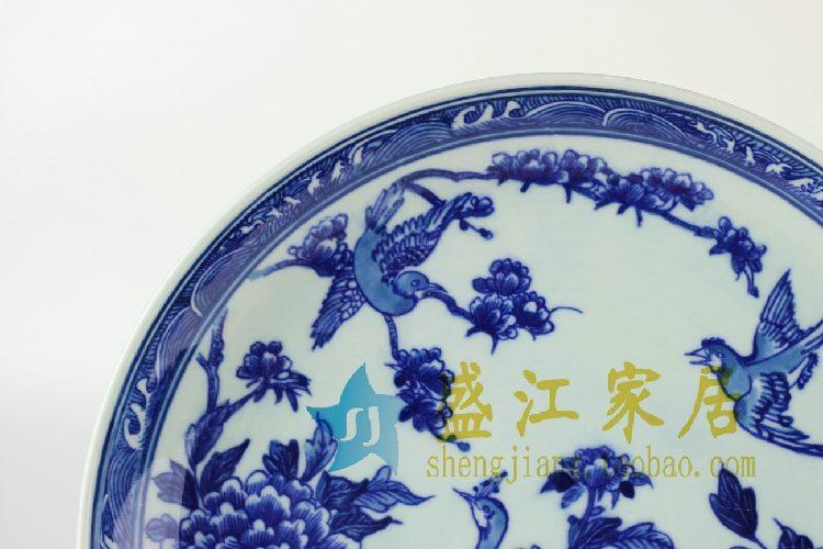 RYXC26景德镇精品陶瓷青花盘子挂盘赏盘瓷盘孔雀花鸟图案收藏送人