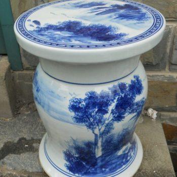 RYAZ327景德镇陶瓷 手绘青花山水树鼓面 瓷凳 梳妆凳 鼓凳 凳子