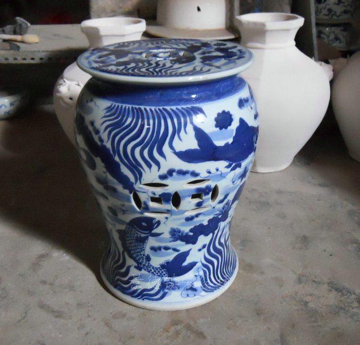 SJSI01景德镇精品陶瓷手工手绘青花双鱼瓷凳瓷墩凉墩 凳子圆头凳