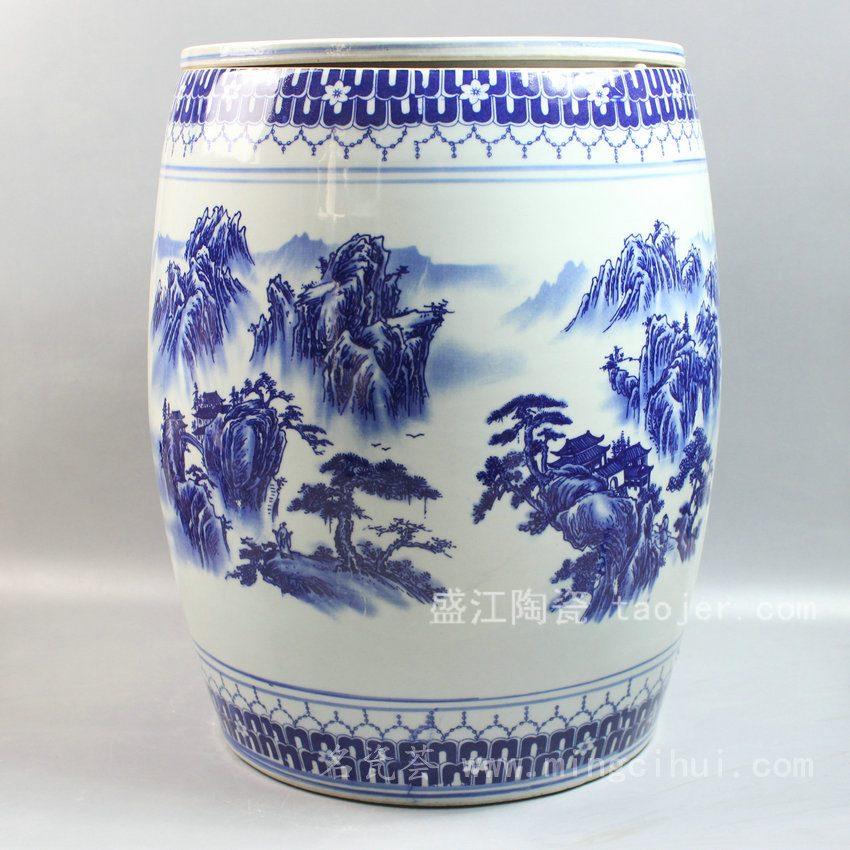 RYTX04 景德镇陶瓷 手工陶瓷 带盖山水 凳子 凉墩 墩子