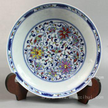 RYYE02 景德镇 精品 陶瓷 红绿彩缠枝蓮纹盘