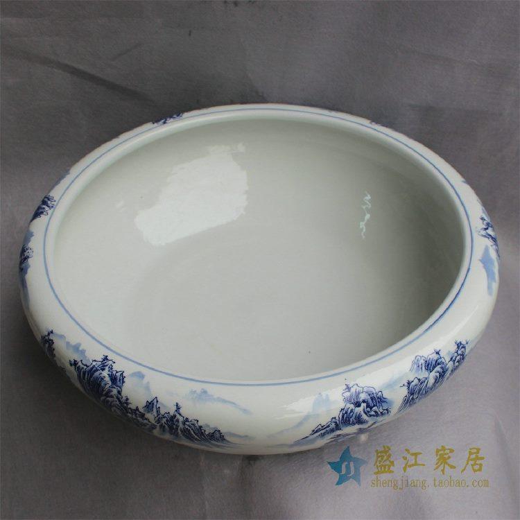 RYYY30景德镇精品陶瓷手绘青花粉彩水洗水缸山水风景缠枝荷花鱼