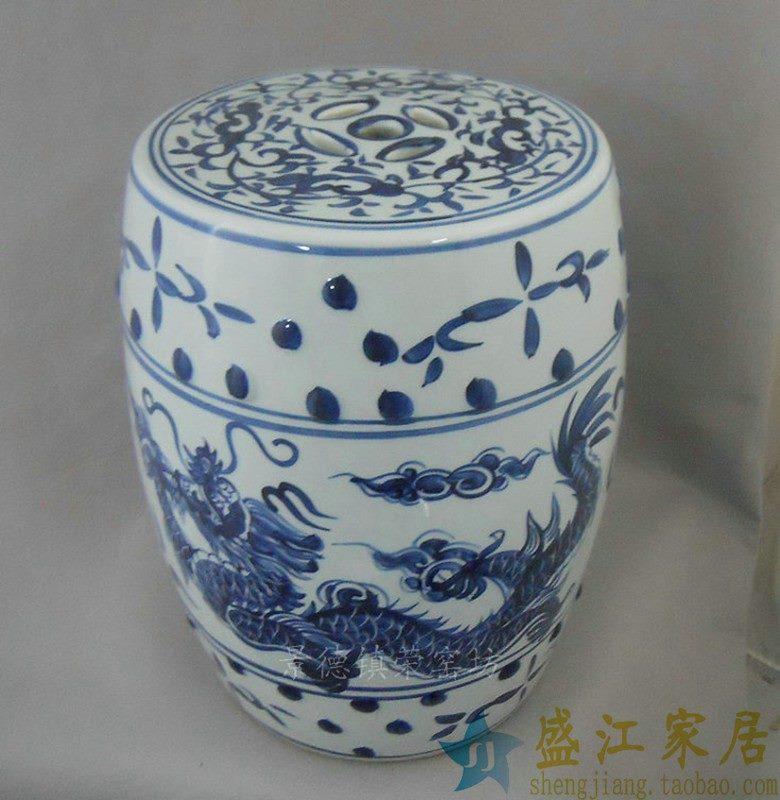 RYAZ354景德镇陶瓷 手绘青花 双龙戏珠 瓷凳 梳妆凳 凳子