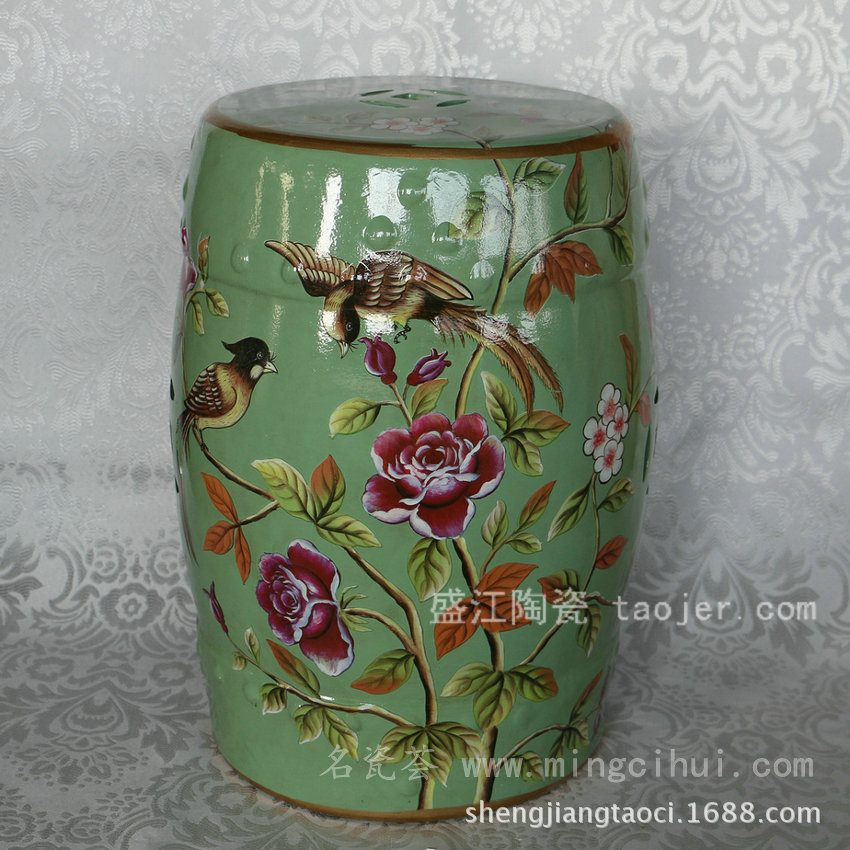 RYYL02景德镇 陶瓷 绿色花鸟 瓷凳 凉墩 凳子 家居工艺