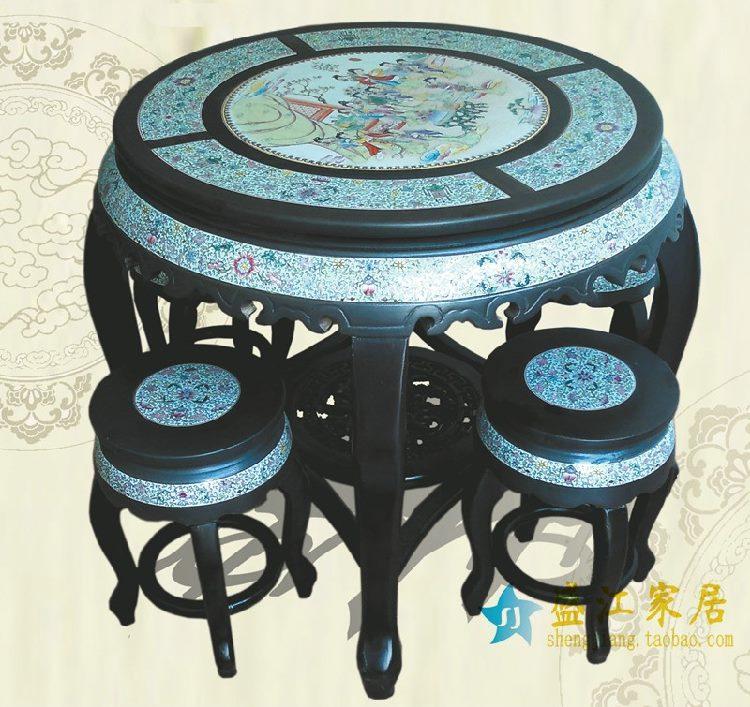 RYYZ03景德镇陶瓷 仿古黑亚光釉粉彩人物 瓷桌凳套组 一桌四凳子