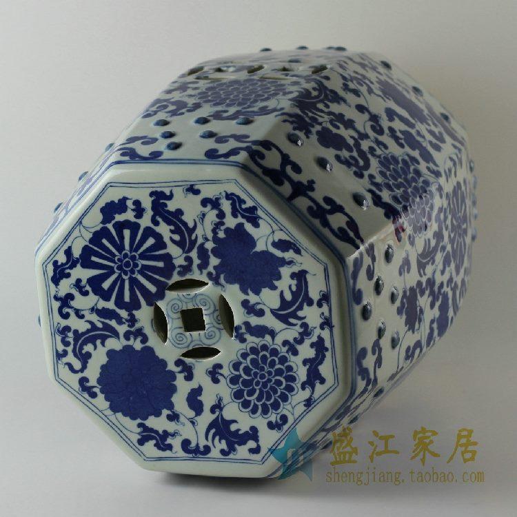 RYLU17景德镇精品陶瓷凳子青花凳青花缠枝凉墩家居庭院酒店都可用