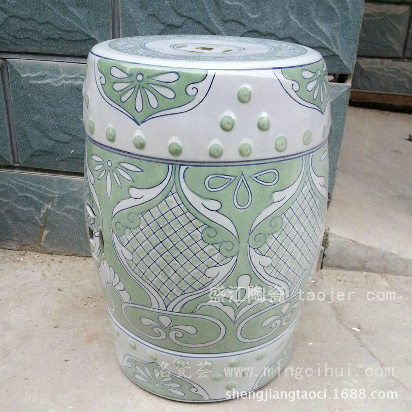 RYZS09景德镇 陶瓷 钮钉草绿 瓷凳 凉墩 凳子 家居工艺
