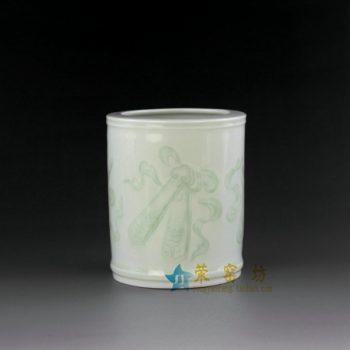 14AA34-a 青釉印花纹笔筒 文具