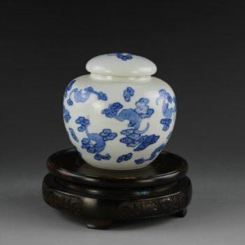 14AM89-b青花如意云图茶叶罐 盖罐 储物罐