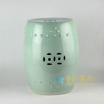 RYKB111-2  颜色釉镂空双钱图瓷凳 凉墩 鼓凳
