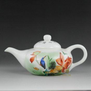 14ok70 手绘粉彩鸟栖荷莲图手柄茶壶 精品茶具