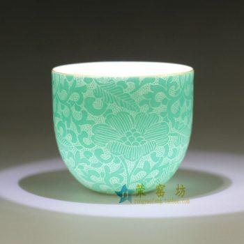 RZDD06-B  刻纹花卉图扒花功夫茶杯 品茗杯