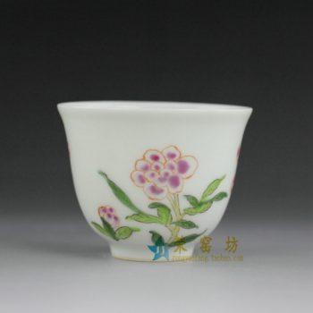14BU67  粉彩手绘花卉图茶碗 茶杯 品茗杯