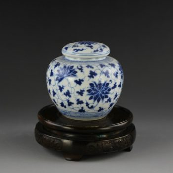 14AM89-A 青花缠枝花卉茶叶罐 储物罐 盖罐